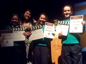 "Niamh, Frenfesca and Eva receive their ""Future Film Crew""awards."