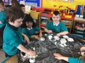 We made snow in our Arctic land using baking soda and conditioner!