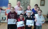 Mr Kevin Powell and Mrs Anne Murphy from Armagh Credit Union presented the St Patrick's winners with their prizes