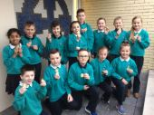 Winning teams from the P5-7 classes.