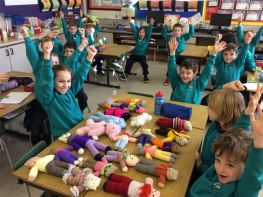 Primary Three enjoy getting knitted teddies and supporting children in poor countries
