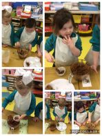 P1 had a busy morning making and tasting Rice Krispie buns.