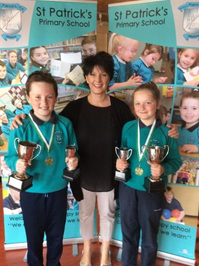 Philip Duggan and Aimee Graham receive top ICT awards from Mrs Thornton