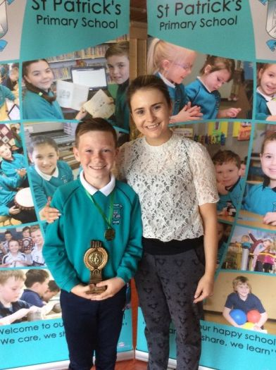 PJ Quinn received a School Council top Award from Miss Savage