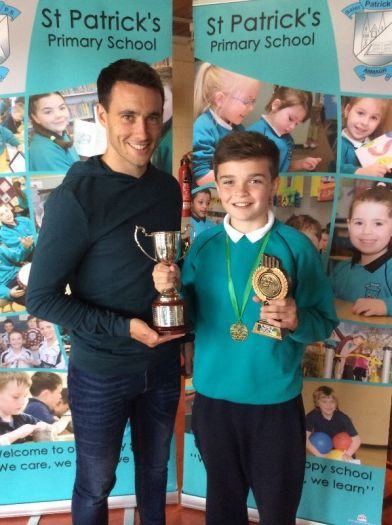 Dara Mc Closkey was awarded the Soccer player of the year award from Mr Marc Cullen