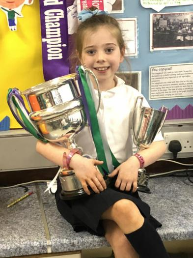 Dancing Campion with Scottish and British cups.