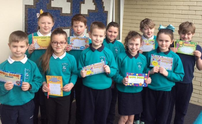 Winners from Mrs Bennett's,Miss Kerr's and Mr Murphy/ Mr Hart's P 5 classes