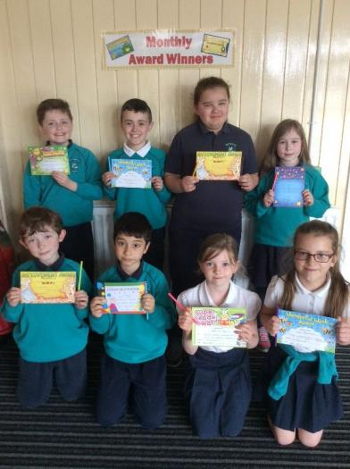 Award winners from Mrs Bennett's P5 Class for March and April 2018