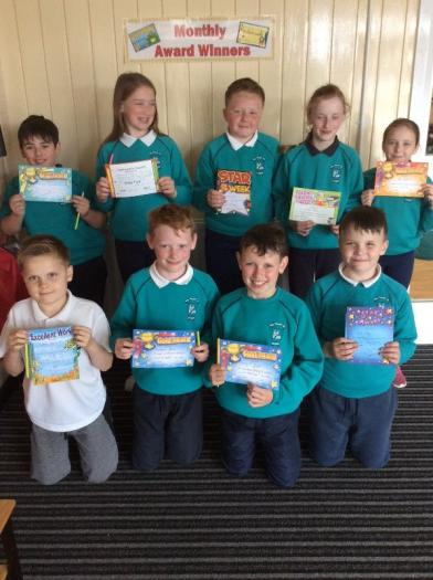 Primary 6 award winners from Mrs Mc Lernon's, Mr Kelly's and Mrs Gilroy/Mrs Hughes' classes.