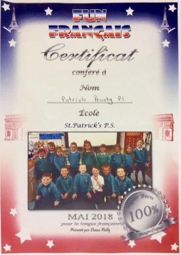 An example of the P1 certificate