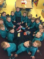 P1 celebrate 'Anti-Bullying Week' by wearing odd socks to school.